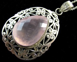 80  Cts  Rose Quartz in Silver  Pendant      MJA 619