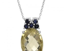 NEW-GENUINE FACETED  QUARTZ PENDANT WITH BLUE SAPPHIRE ACCENTS SET IN 925 S