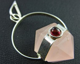 Terminated Point rose Quartz n Garnet Pendant BU 651