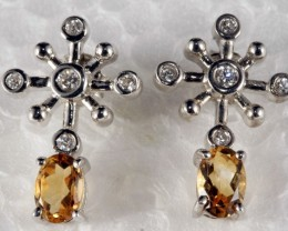 Sterling Silver Earring With Real Citrine Fabulous TC-13