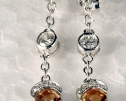 Sterling Silver Earring With Real Imperial Topaz Gem SE-02