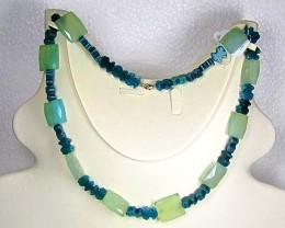 Necklace  LK0654 GREEN AGATE BEADS WITH FACETED QUARTZ
