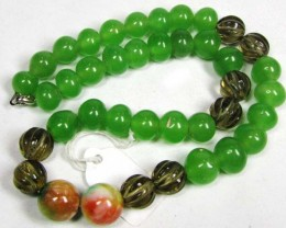 Necklace LK0656  GREEN JADE WITH CARVED QUARTZ BEADS
