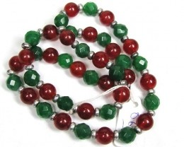 Necklace  LK0658 ROUND DYED RED JADE WITH GREEN FACETED JADE