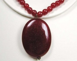 Necklace LK0629 JADE DYED RED