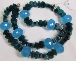 Necklace LK0651 BLUE CHALCEDONY WITH GREEN STONE BEADS