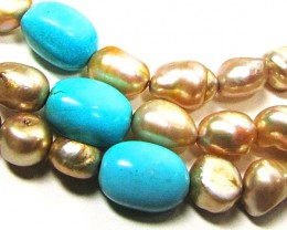 Necklace LK0625 TURQUOISE AND PEARLS