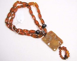 necklace LK 0650 GOLDEN OBSIDIAN/AGATE AND PEARLS