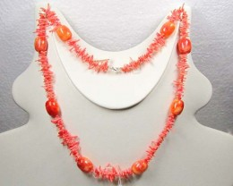 NECKLACE CORAL NEEDLES WITH LARGE BARREL SHAPE LK0624