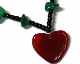 NEW TRIBAL GREEN JADE N  AGATE  HEART NECKLACE    TR69