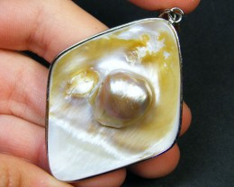 PEARL  FORMED ON SHELL  PENDANT     AAA 1569