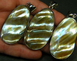PARCEL 3 NATURAL PEARL SHELL PENDANT  DOUBLE SIDED  AAA1775