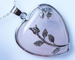 Heart shape Rose Quartz Pendant BU1226