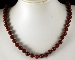 Fine Red Brown Jadeite & S/Steel Necklace196 ct SN-003