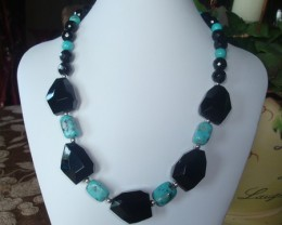 FACETED NUGGET BLACK ONYX AND TURQUOISE NECKLACE