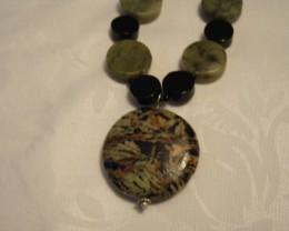BEAUTIFUL BLACK ONYX AND  BYSSOLITE NECKLACE