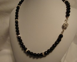 GENUINE FACETED BLACK ONYX AND  RONDELLE NECKLACE