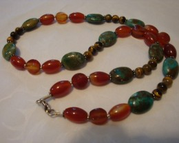 INDIAN TURQUOISE , CARNELIAN AND TIGER EYE NECKLACE