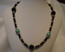 BLACK ONYX AND TURQUOISE NECKLACE