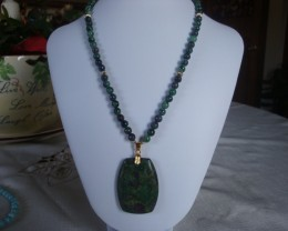 ZOIZITE AND RUBY BEADED NECKLACE