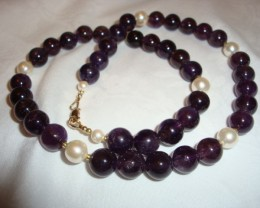 DEEP AMETHYST NECKLACE WITH MASAMI PEARLS