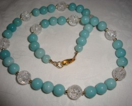 AMAZONITE AND CRACKLED CRYSTAL NECKLACE