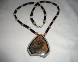BLACK ONYX , MOONSTONE  WITH FOSSILIZED CORAL INLAY PENDANT