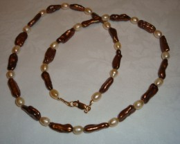 BRONZE STICK PEARL AND FRESHWATER PEARL NECKLACE