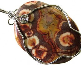 LARGE BIRDS EYE JASPER [MEXICO]  PENDANT 82.25 CTS [GT1023 ]
