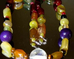 JADE , AGATE AND TOPAZ BEADS NECKLACE