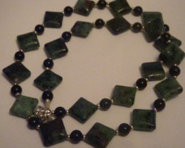 RUBY ZOIZITE AND BLACK ONYX NECKLACE