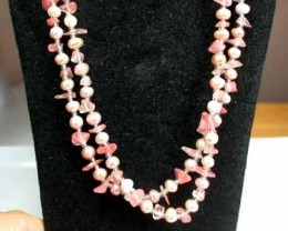 ONE METER LONG STRAND PEARLS  PINK G409