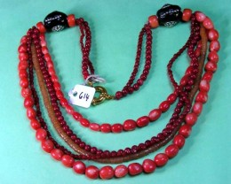 CORAL N ZIRCON  NECKLACE  BEAD STRAND   11 614