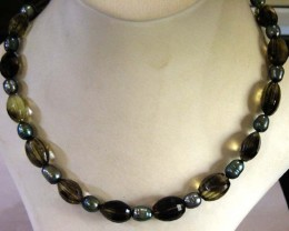 BIGOLD CITRINE N PEARL  NECKLACE  STRAND   11 156