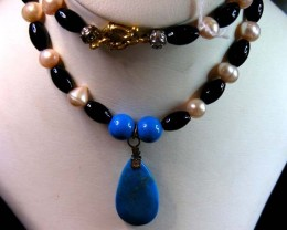 286 CTS  TRIBAL  PEARL ,AGATE HOWLITE  NECKLACE     11 163