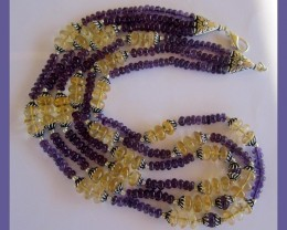"""MAJESTIC AMETHYST & CITRINE 3-ROW NECKLACE - 467.55CTS"""