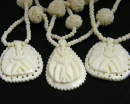 THREE HAND CARVED CAMEL BONE IVORY NECKLACE   TR 707