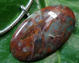 103 CTS  JASPER PENDANT ON  THICK CHAIN  MYGM 455