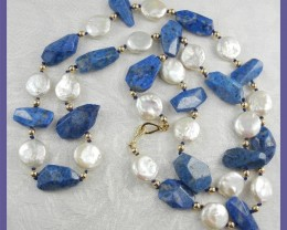 NATURAL LAPIS LAZULI & COIN PEARL NECKLACE - 79.5CM/31.25""