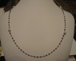 NEW! 7.40 CTW NECKLACE OF FRESHWATER PEARLS AND SAPPHIRES