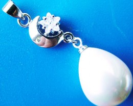 WHITE PEARL PENDANT 15 X 11 MM  20CTS [PF721]
