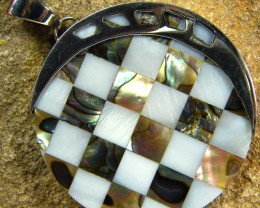 INLAYED MOTHER OF PEARL SILVER PENDANT 43.30 CTS [SJ302]