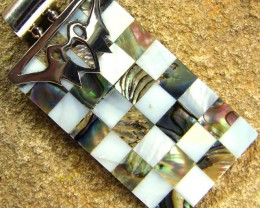 INLAYED MOTHER OF PEARL SILVER PENDANT 39.35 CTS [SJ309]