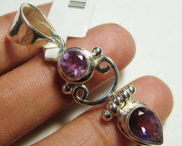 AMETHYST  FACETED  SILVER PENDANT - 36 CTS  ADK-152