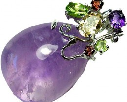 AMETHYST  PENDANT WITH 6 NATURAL STONES. 57.40 CTS [GT1169 ]