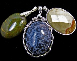 Three Jasper pendant s for price one!  MJA 386