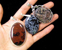 Three Jasper pendant s for price one!  MJA 389