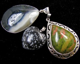 Three Jasper pendant s for price one!  MJA 390