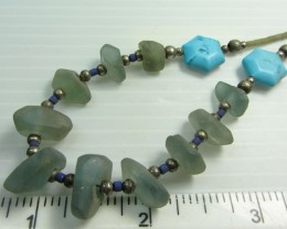 TURQUOISE/HOWLITE  FLUROITE NECKLACE MJA 196