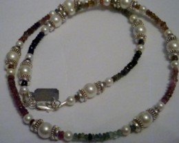 NEW - 17 INCH MULTI-COLORED TOURMALINE AND PEARL NECKLACE